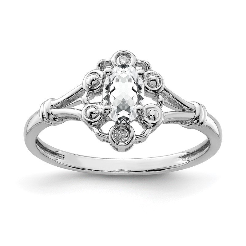 Arizona Diamond Center Collection Sterling Silver Rhodium-plated White Topaz & Diam. Ring