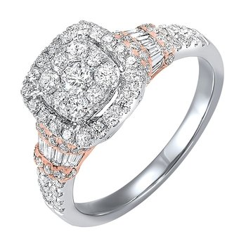 Diamond Halo Cushion Cluster Anniversary Ring in 14k Two-Tone Gold (1 ctw)