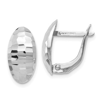 Leslie's 14K White Gold Polished & Hammered Hinged Post Earrings