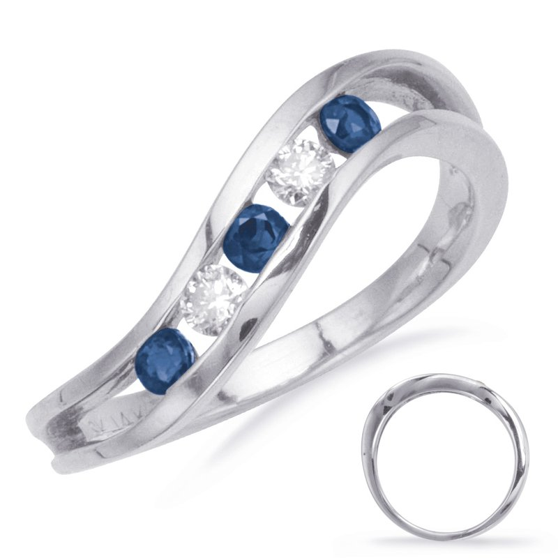S. Kashi  & Sons Sapphire & Diamond Channel Set Band