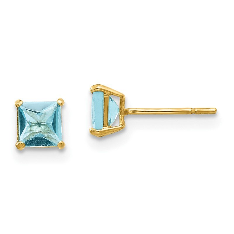 Quality Gold 14k Madi K Blue Topaz 4mm Square Post Earrings