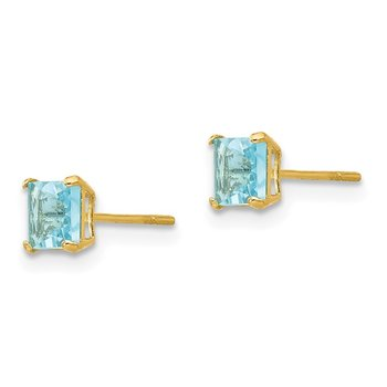 14k Madi K Blue Topaz 4mm Square Post Earrings