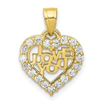 10K Small CZ I LOVE YOU Heart Charm