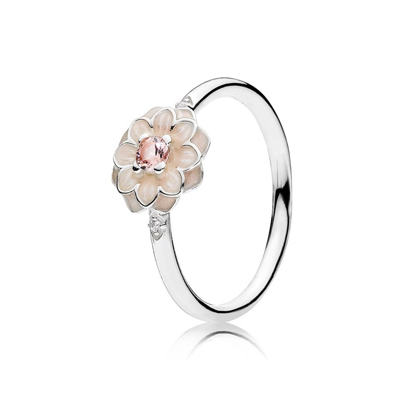 PANDORA (CAD) Blooming Dahlia, Cream Enamel, Clear CZ & Blush Pink Crystals