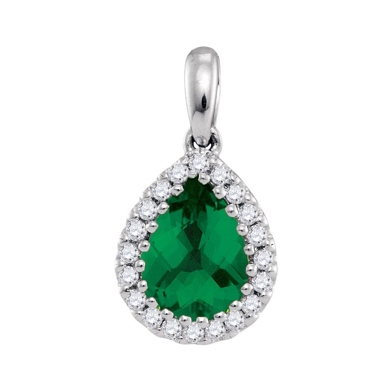 Kingdom Treasures 14kt White Gold Womens Pear Emerald Solitaire Green Pendant 1.00 Cttw