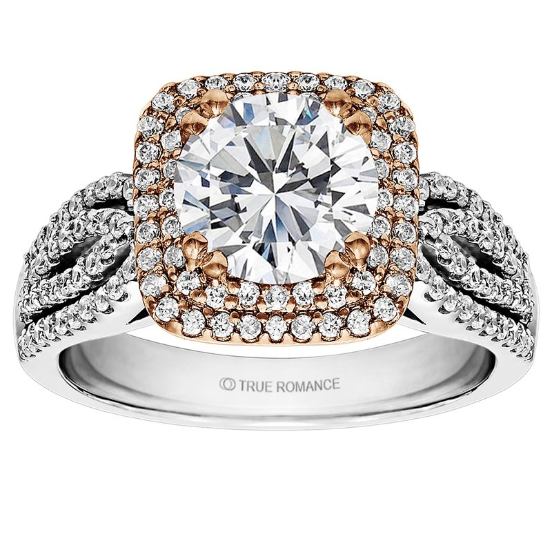 True Romance Round Cut Double Halo Diamond Engagement Ring