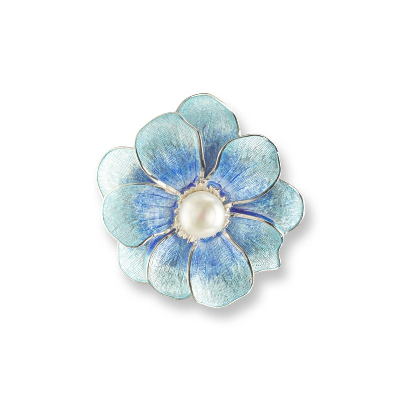 Nicole Barr Designs Blue Camellia Brooch-Pendant.Sterling Silver-Freshwater Pearls
