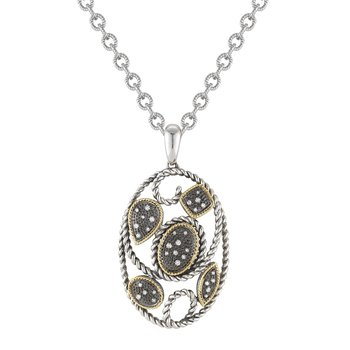 Sterling Silver and 14K Oval  Diamond Pendant set in Black Rhodium