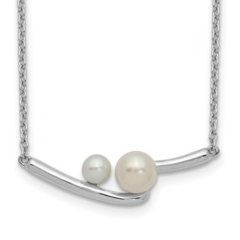 Sterling Silver Rhodium-plated FWC Pearl Bar w/ 1in ext Necklace