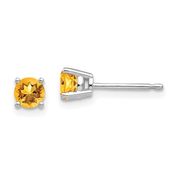 14k White Gold 4mm Citrine Earrings