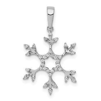 14k White Gold 1/6ct. Diamond Snowflake Pendant