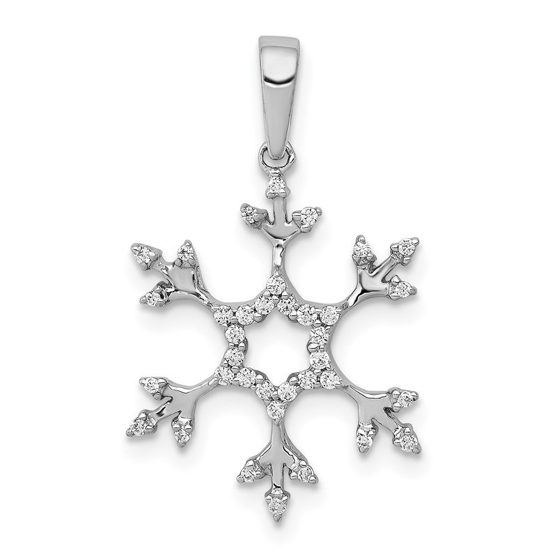 Quality Gold 14k White Gold 1/6ct. Diamond Snowflake Pendant