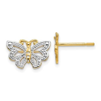 14k w/ White Rhodium Butterfly Post Earrings