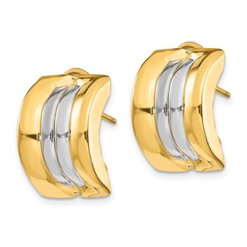 14k & Rhodium Omega Post Earrings