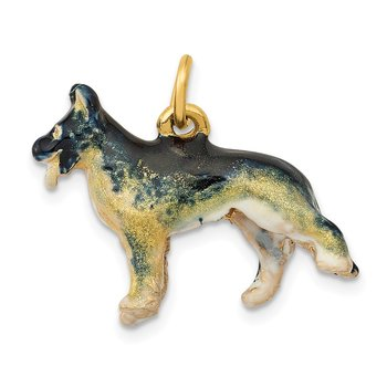 14k 3D Enameled Medium German Shepherd Charm
