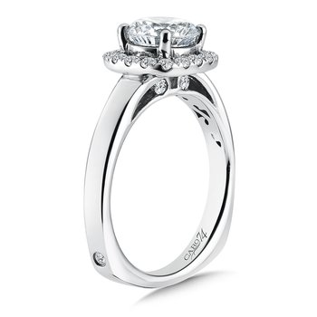 Diamond Halo Engagement Ring in 14K White Gold with Platinum Head (1-1/2ct. tw.)
