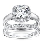 Caro74 Diamond Halo Engagement Ring in 14K White Gold with Platinum Head (1-1/2ct. tw.)