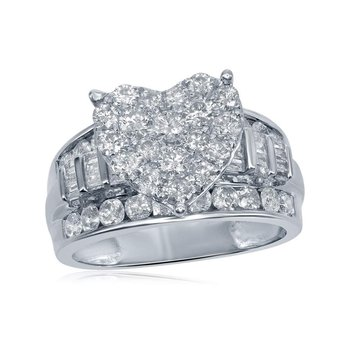 10kt White Gold Womens Round Diamond Heart Cluster Bridal Wedding Engagement Ring 2.00 Cttw