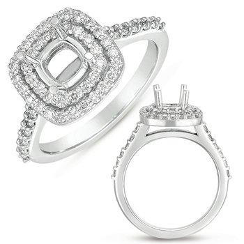 White Gold Halo Ring for 6.5mm cushion