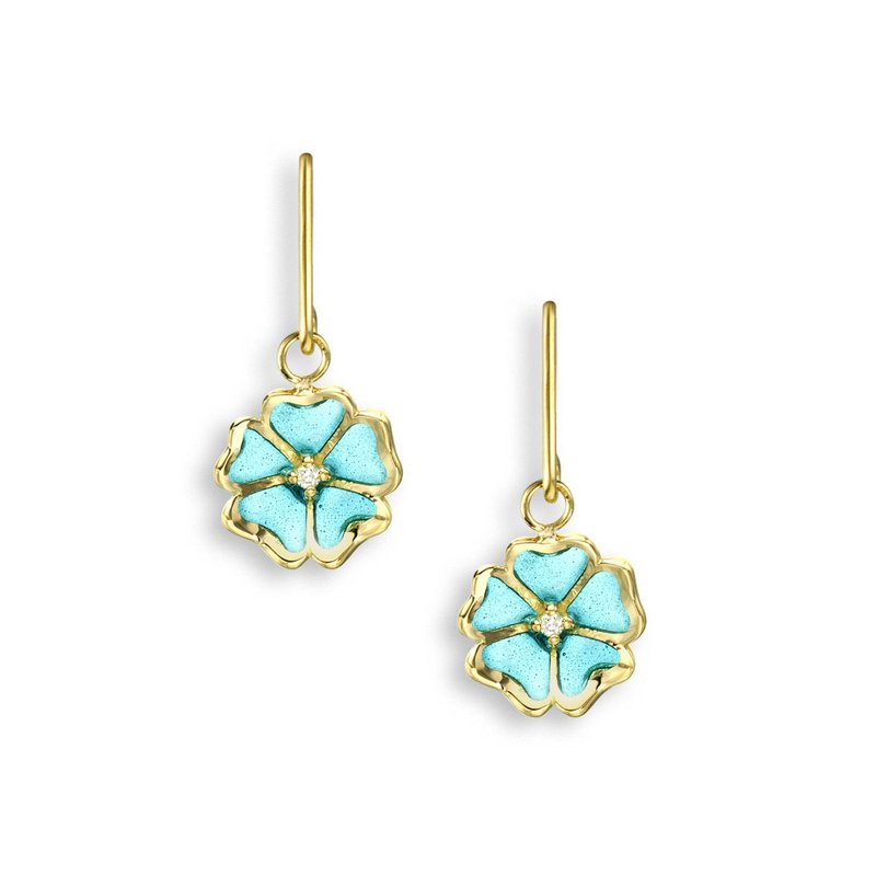 Nicole Barr Designs Turquoise Rose Wire Earrings.18K -Diamonds - Plique-a-Jour