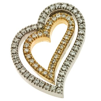 Two Tone Diamond Heart Pendant