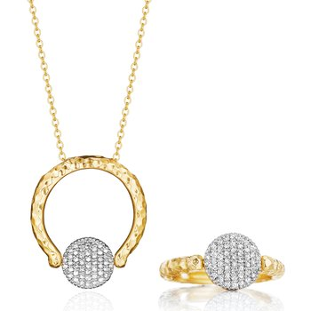 Yellow gold diamond mini Infinity Revolution ring necklace