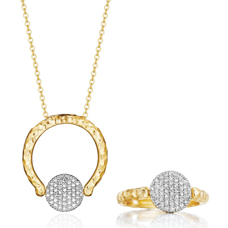 Phillips House Yellow gold diamond mini Infinity Revolution ring necklace