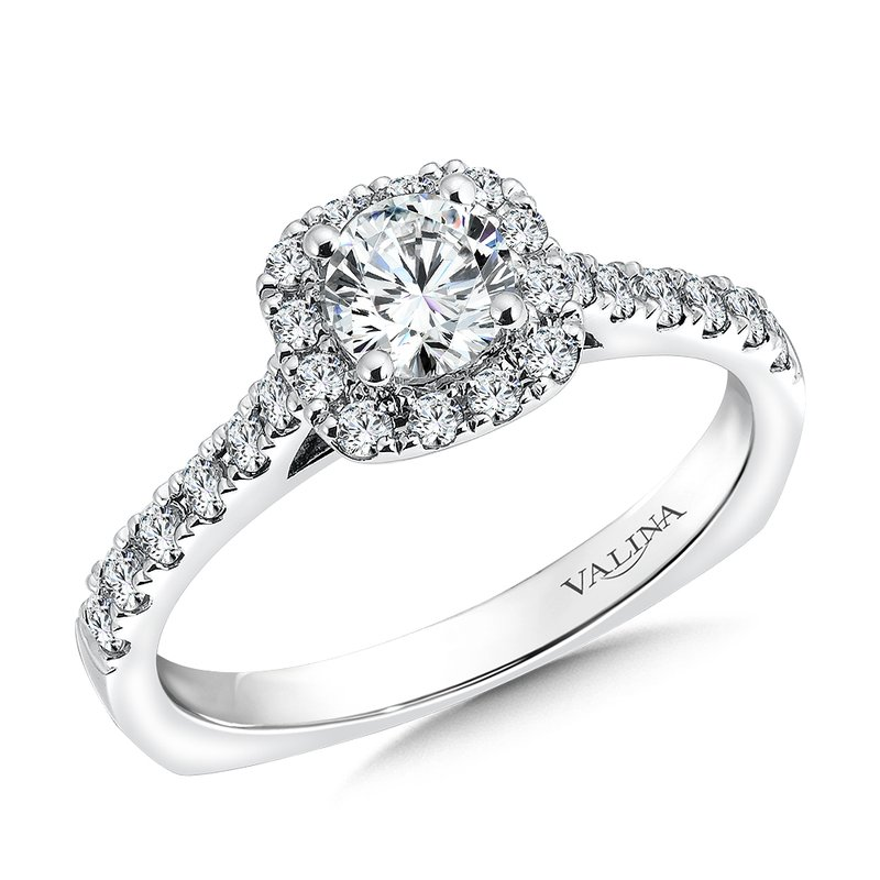 Valina Bridals Cushion shape halo mounting .38 ct. tw., 1/2 ct. round center.