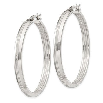 Sterling Silver Rhodium Plated 4.5x45mm Hoop Earrings