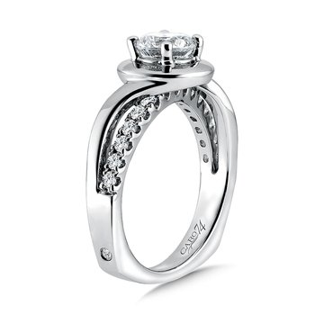 Halo Diamond Engagement Ring in 14K White Gold with Platinum Head (1ct. tw.)