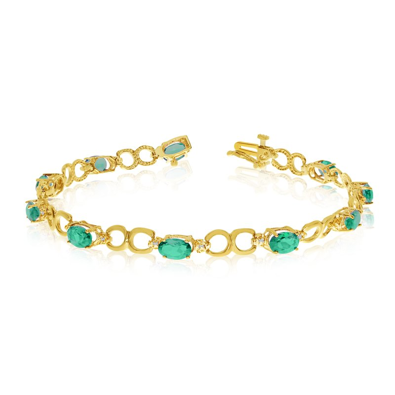 Color Merchants 10K Yellow Gold Oval Emerald and Diamond Bracelet