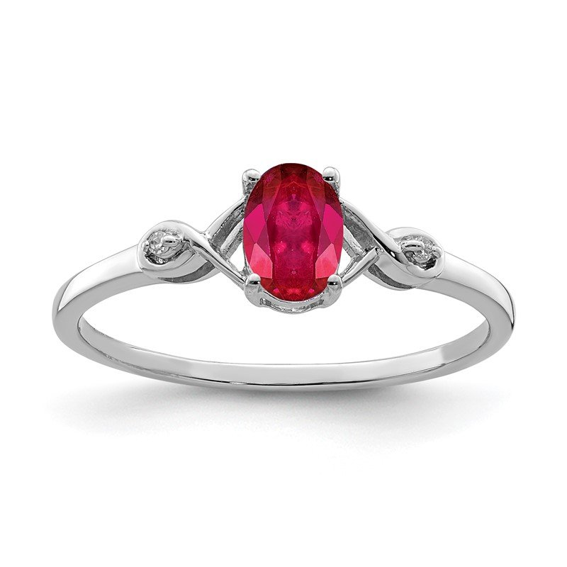 Quality Gold Sterling Silver Rhodium Plated Diamond and Oval Ruby Ring
