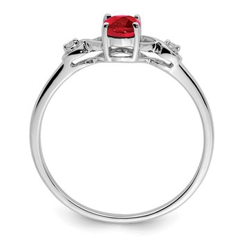 Sterling Silver Rhodium Plated Diamond and Oval Ruby Ring