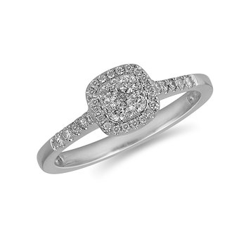 14K WG and diamond Cushion Halo composite head and diamond on shank ring in pressure setting