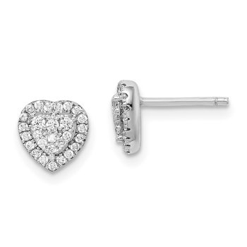 Sterling Silver Rhodium-plated Pave CZ Heart Post Earrings