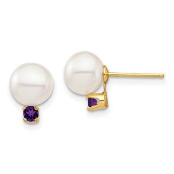 14K 7-7.5mm White Round Freshwater Cultured Pearl Amethyst Post Earrings