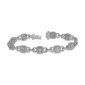 14K WG Diamond Cushion Shape Halo Bracelet in Prong Setting