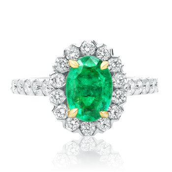 Prong Set Oval Emerald Ring