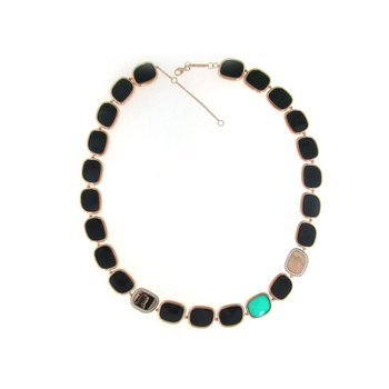 18Kt Gold Necklace With Black Jade, Green Agate And Diamonds