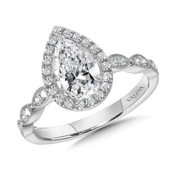 Scalloped & Milgrain-Beaded Pear-Shaped Halo Engagement Ring
