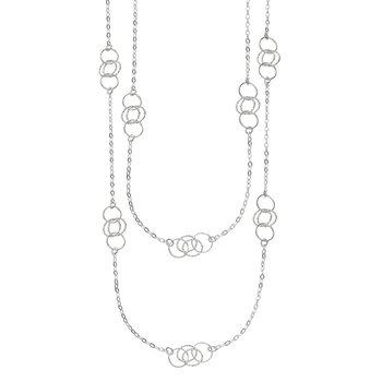 Silver Long Circle Station Necklace