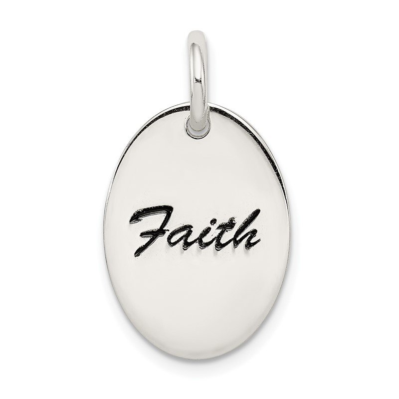 Quality Gold Sterling Silver Polished Enamel Faith Pendant