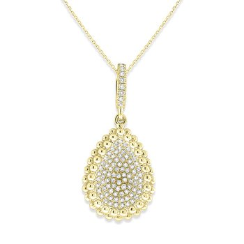 Diamond Concave Teardrop Necklace in 14k Yellow Gold with 89 Diamonds weighing .22ct tw.