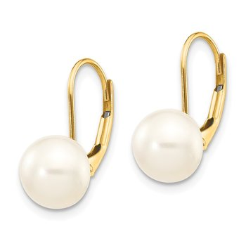 14K 8-9mm White Button Freshwater Cultured Pearl Leverback Earrings