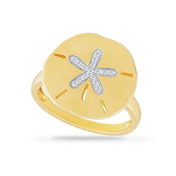 14K 16.5 mm Sand Dollar Ring set with 16 diamonds 0.09ct