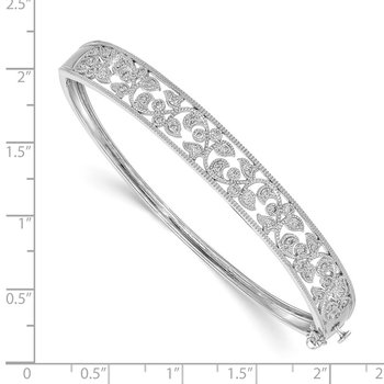 14K White Gold Polished AA Diamond Hinged Bangle