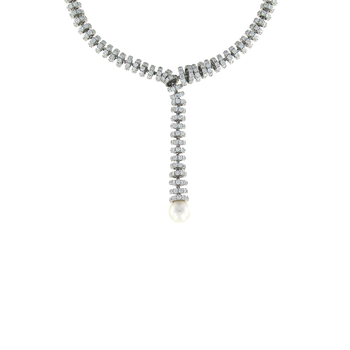 18Kt Gold Y Necklace With Diamonds And Pearls