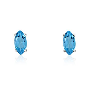 14k White Gold Blue Topaz Marquise Earrings