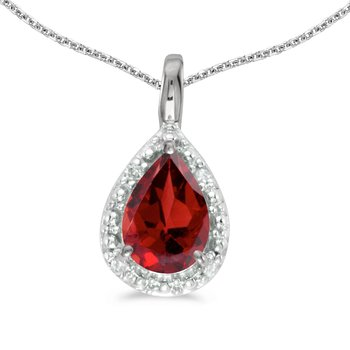 14k White Gold Pear Garnet Pendant