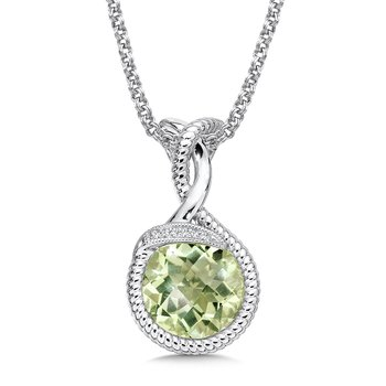 Sterling Silver Diamond & Green Amethyst Pendant